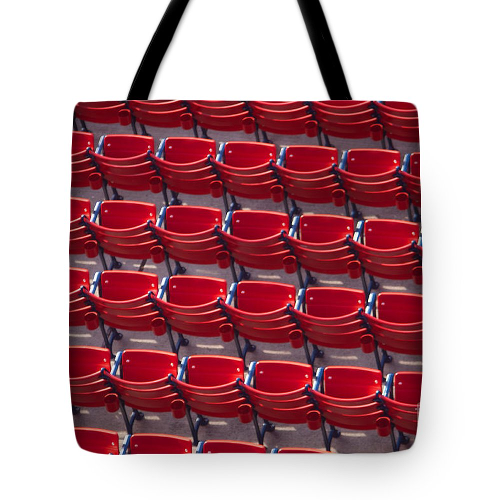 Red Tote Bag featuring the photograph Fenway Seats by Ray Konopaske