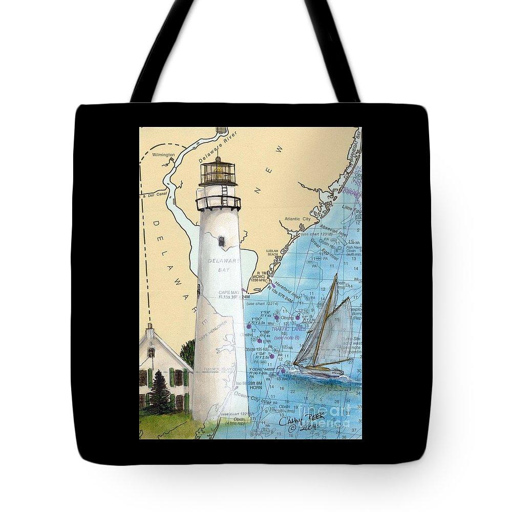 Fenwick Tote Bag featuring the painting Fenwick Island Lighthouse De Nautical Chart Map Art Cathy Peek by Cathy Peek