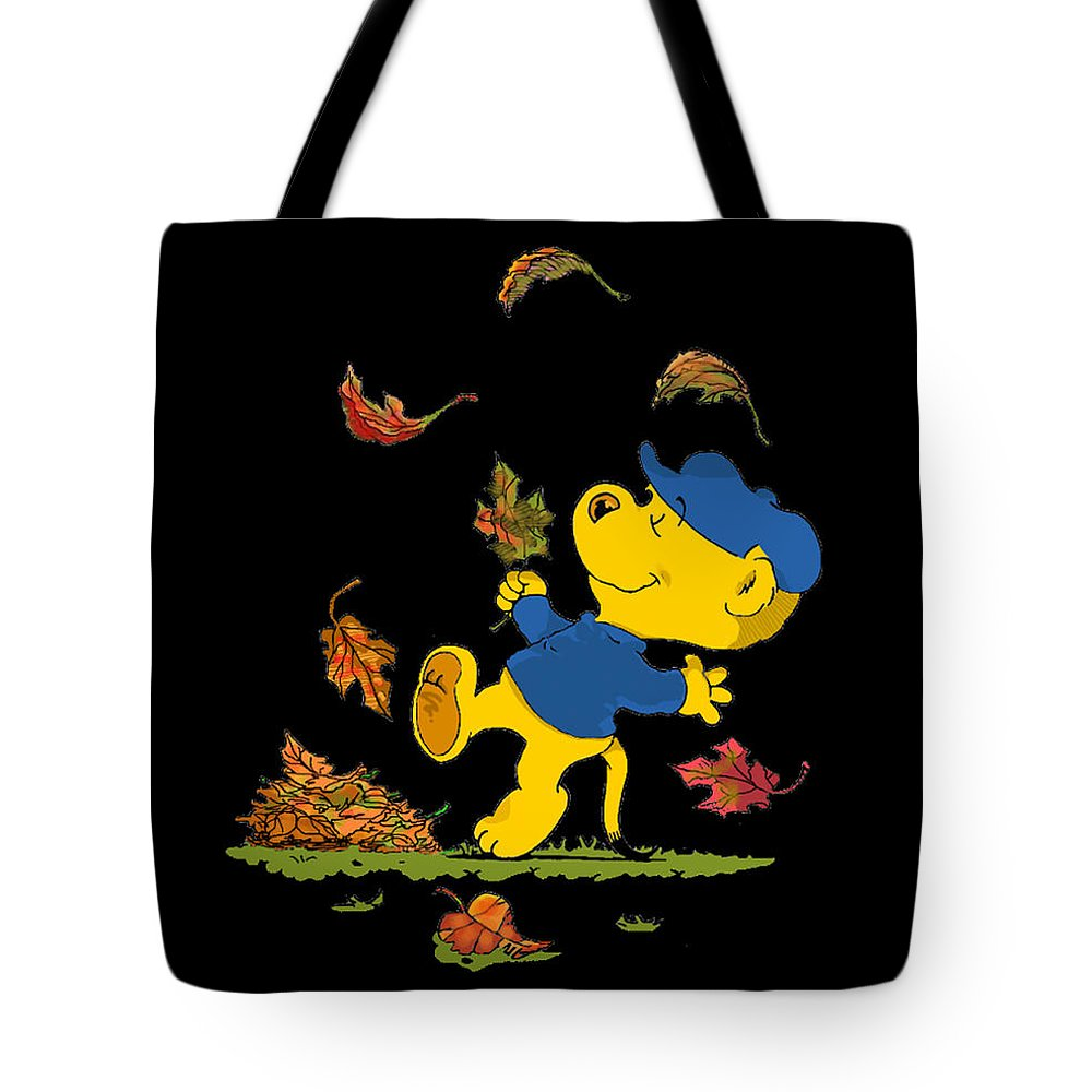 Ferald Tote Bag featuring the drawing Ferald Dancing Amongst The Autumn Leaves by Keith Williams