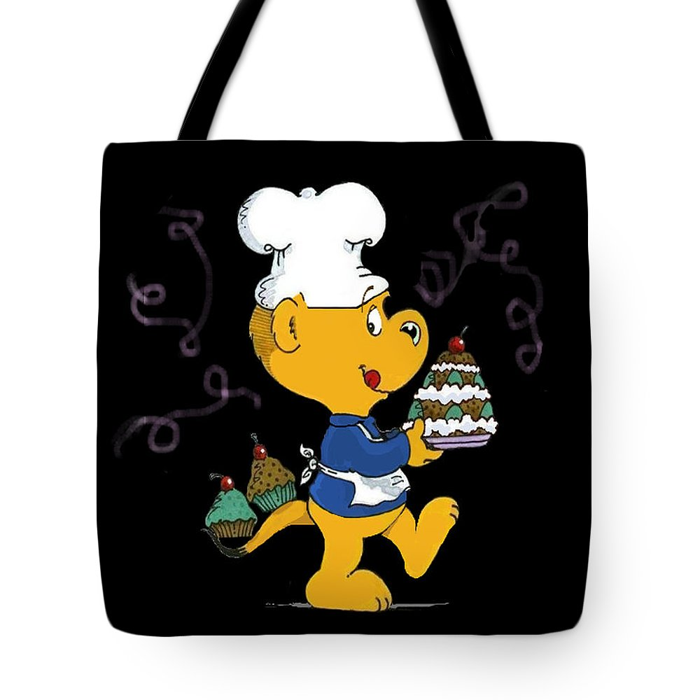 Ferald Tote Bag featuring the drawing Ferald's Goodies by Keith Williams