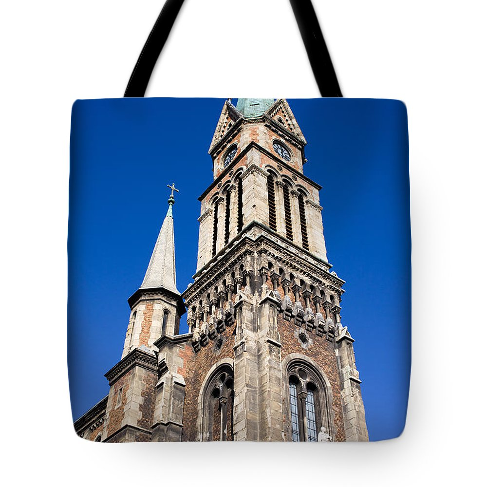 Budapest Tote Bag featuring the photograph Ferencvaros Church Tower In Budapest by Artur Bogacki