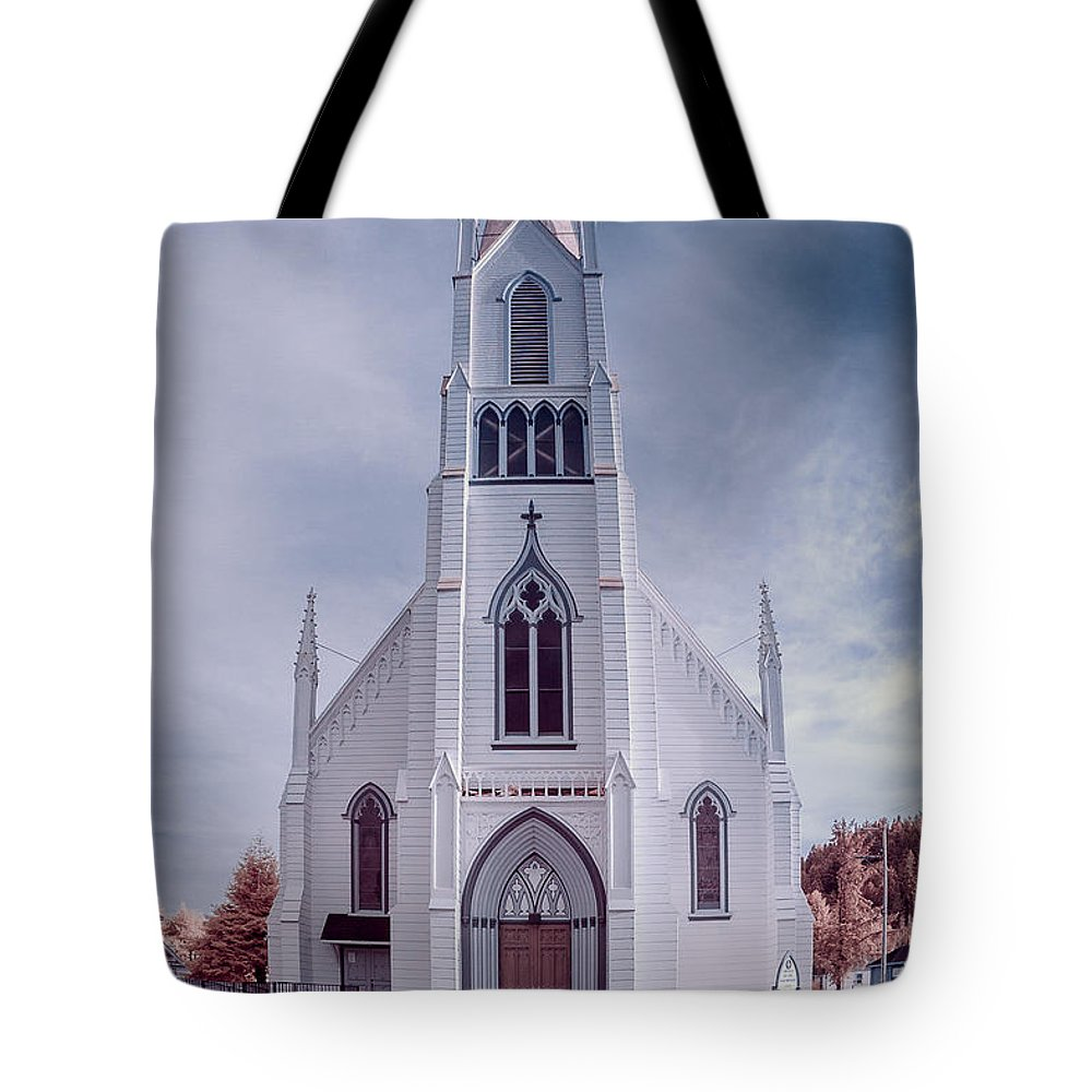 Infrared Tote Bag featuring the photograph Ferndale Church by Greg Nyquist