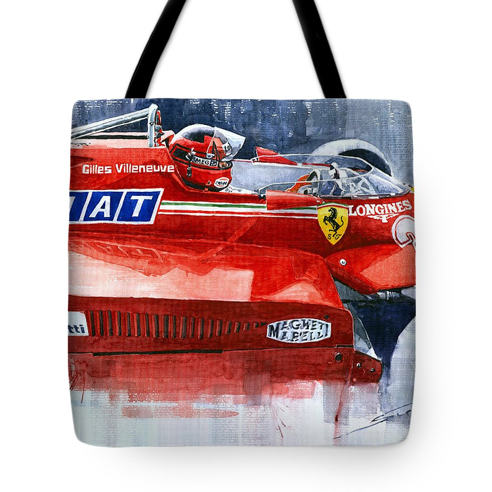 Watercolor Tote Bag featuring the painting Ferrari 126c Silverstone 1981 British Gp Gilles Villeneuve by Yuriy Shevchuk