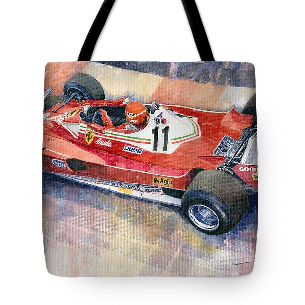 Watercolor Tote Bag featuring the painting Ferrari 312 T2 Niki Lauda 1977 Monaco Gp by Yuriy Shevchuk