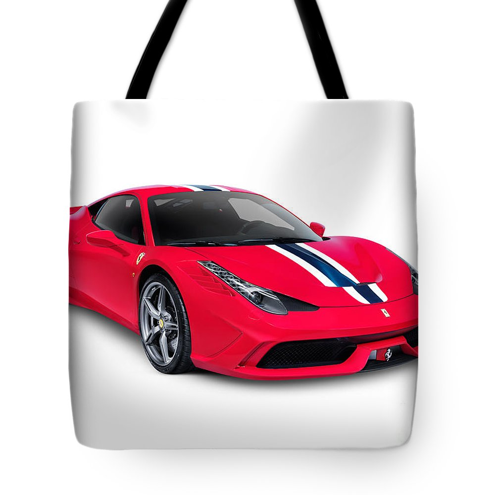 Ferrari Tote Bag featuring the photograph Ferrari 458 Speciale Sports Car by Oleksiy Maksymenko