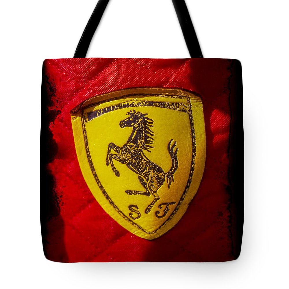 Ferrari Tote Bag featuring the photograph Ferrari Emblem by Jose Bispo