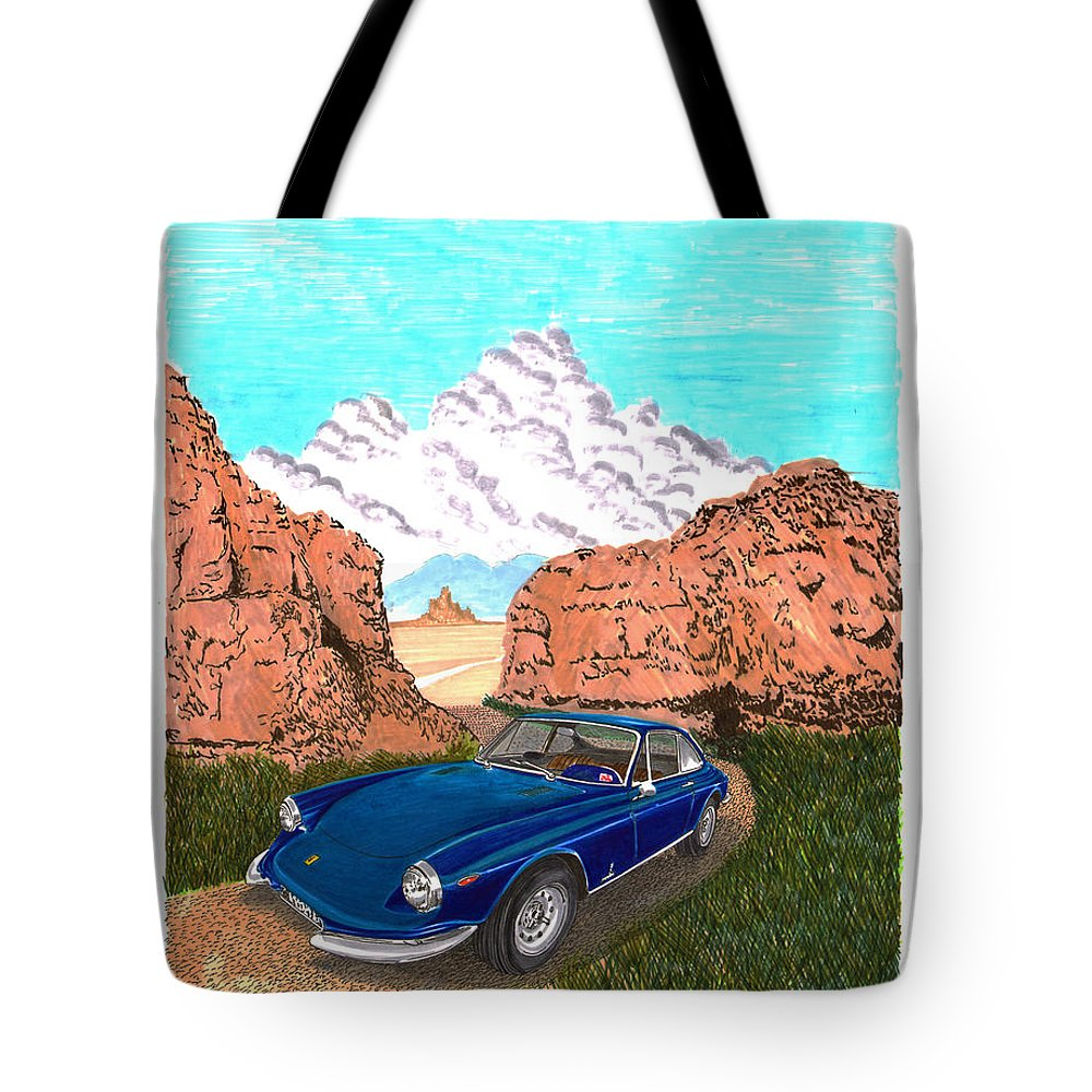Santa Fe Concorso Winner Of Jacks Watercolor Painting Of The 1969 Ferrari 365 Gtc With A Body Styled By Pininfarina Tote Bag featuring the painting 1969 Ferrari 365 G T C In The Mountains 1969 365 G T C by Jack Pumphrey