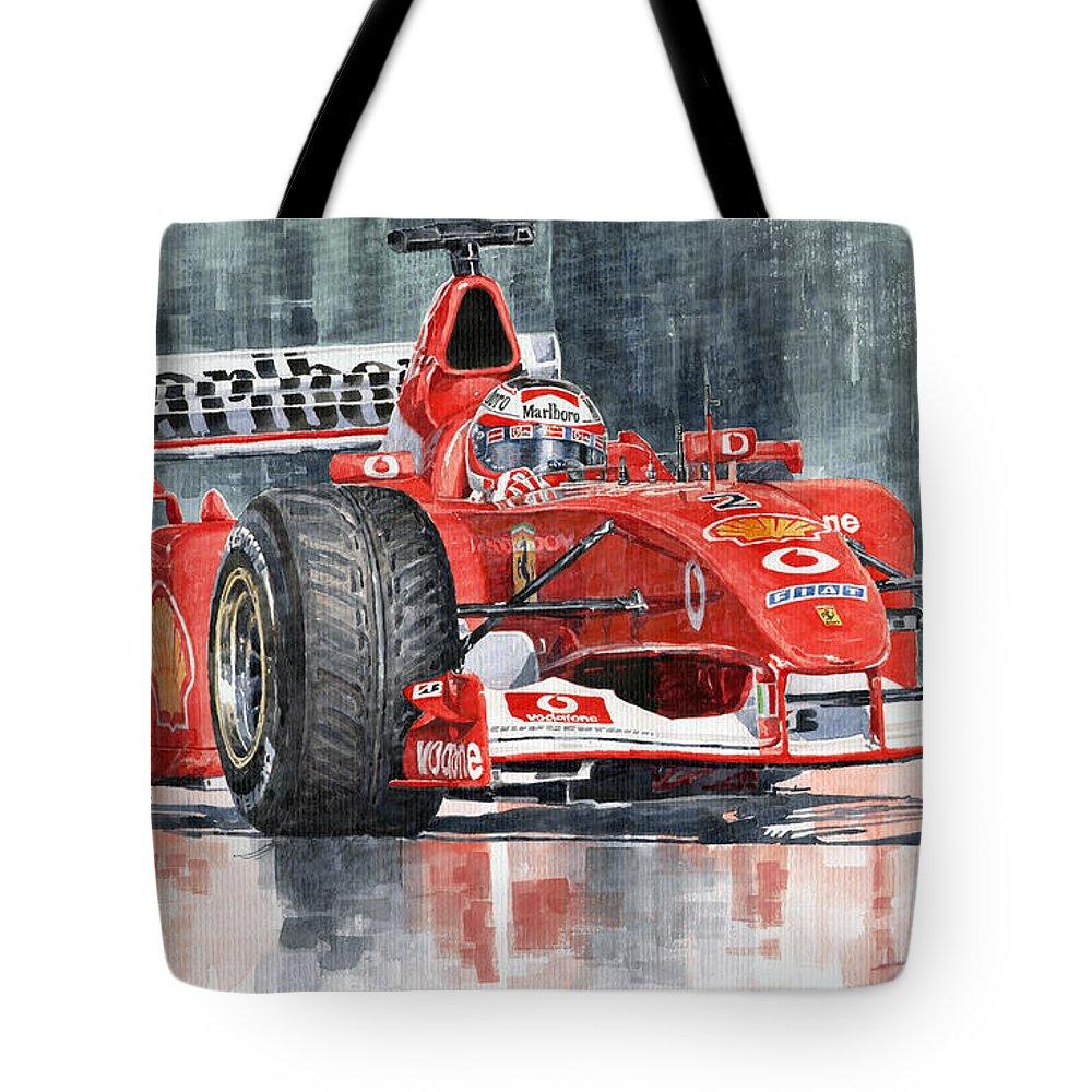 Automotive Tote Bag featuring the painting 2002 Ferrari Marlboro F 2002 Ferrari 051 Rubens Borrichello by Yuriy Shevchuk