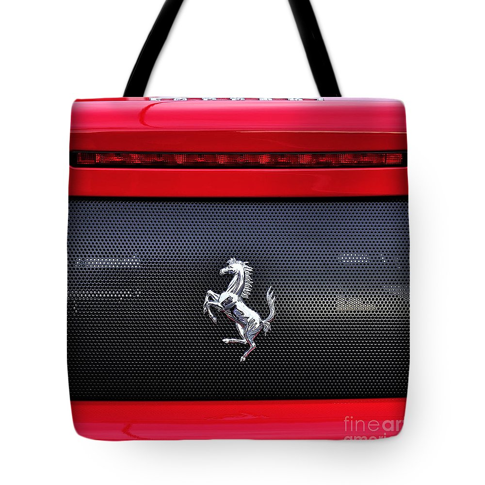Photography Tote Bag featuring the photograph Ferrari - Rear Grill And Stallion Badge by Kaye Menner