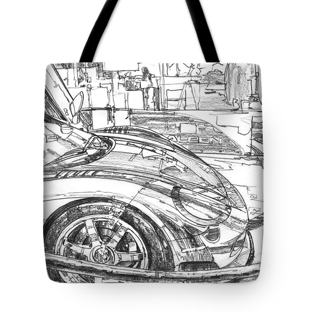 Car Drawing Tote Bag featuring the drawing Ferrari-saleen Study by Garth Glazier