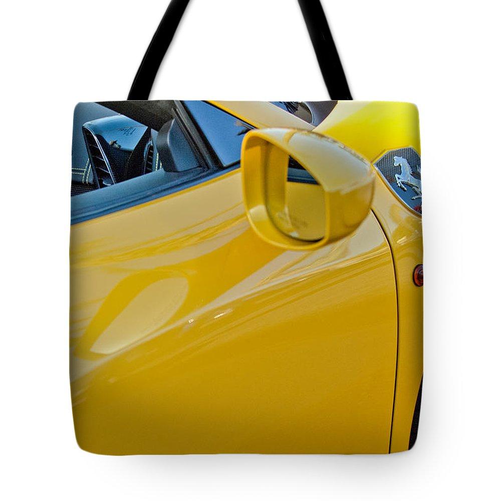 Ferrari Side Emblem Tote Bag featuring the photograph Ferrari Side Emblem by Jill Reger