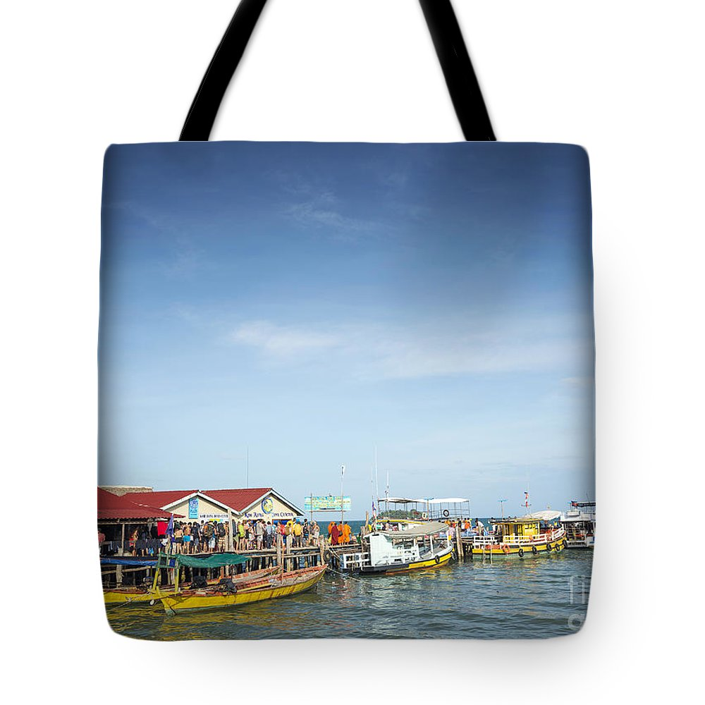 Asia Tote Bag featuring the photograph Ferries At Koh Rong Island Pier In Cambodiaferries At Koh Rong I by Jacek Malipan