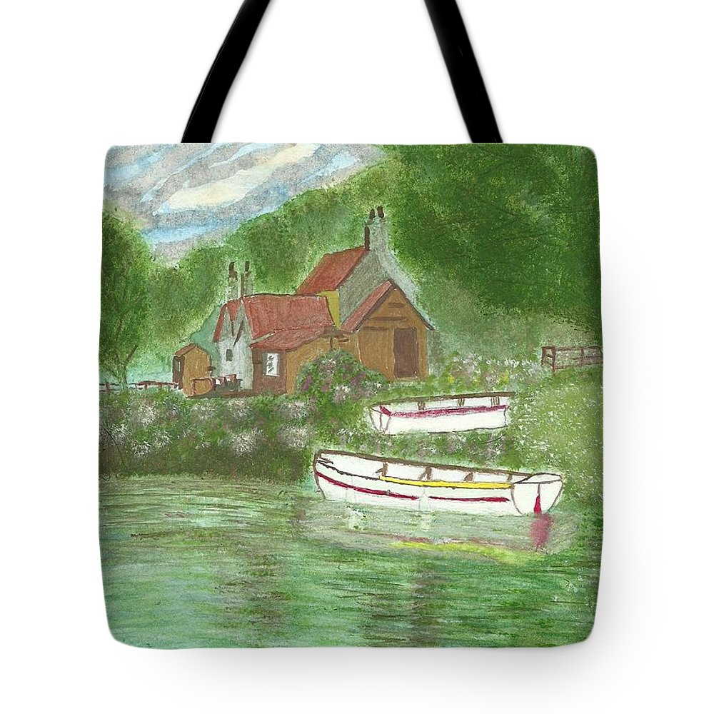 Ferryman's Cottage Tote Bag featuring the painting Ferryman's Cottage by Tracey Williams