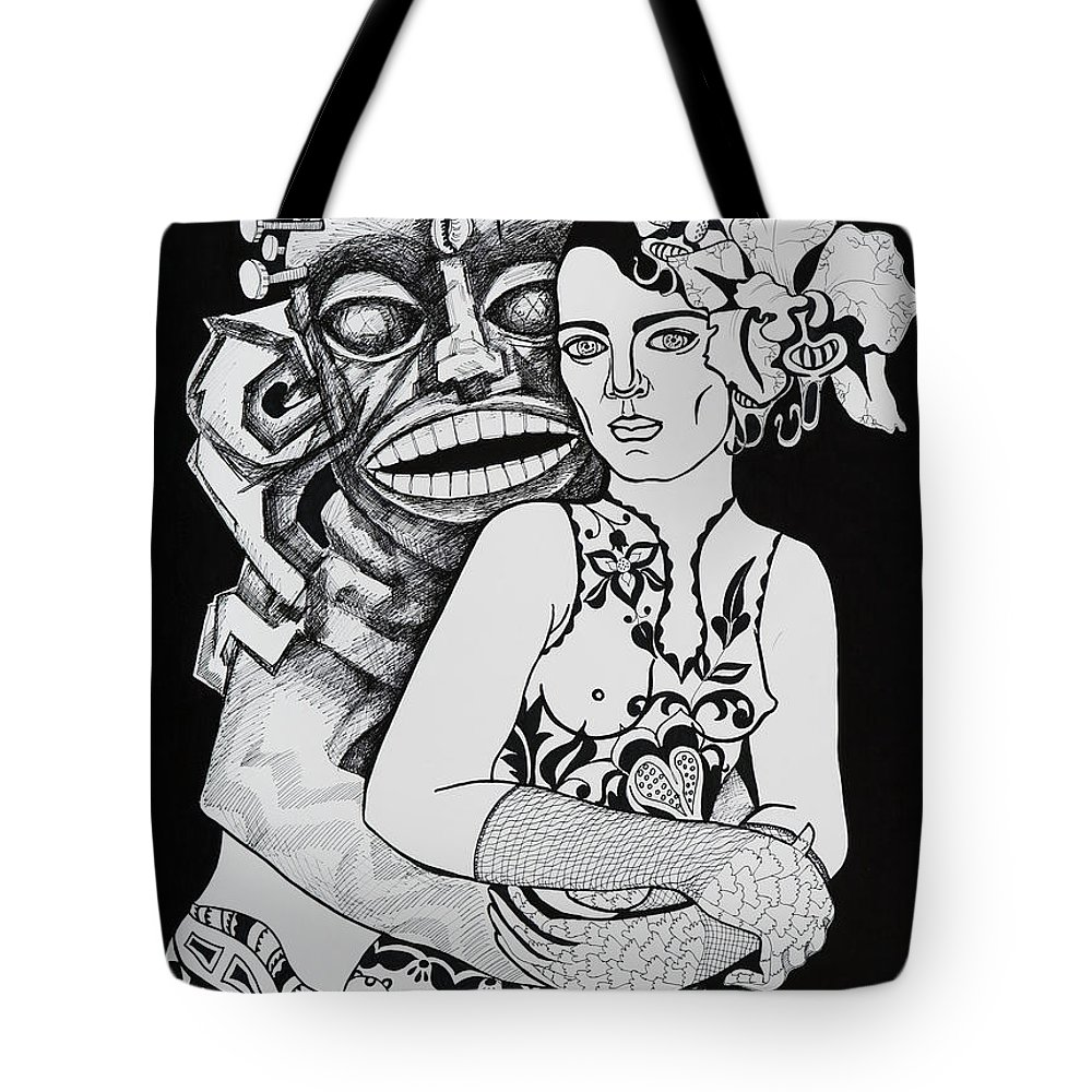 Surreal Tote Bag featuring the drawing Fetish Girl by Yelena Tylkina