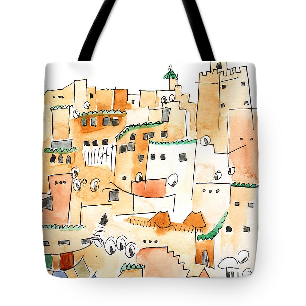 Art Tote Bag featuring the painting Fez Medina Roofline by Anna Elkins