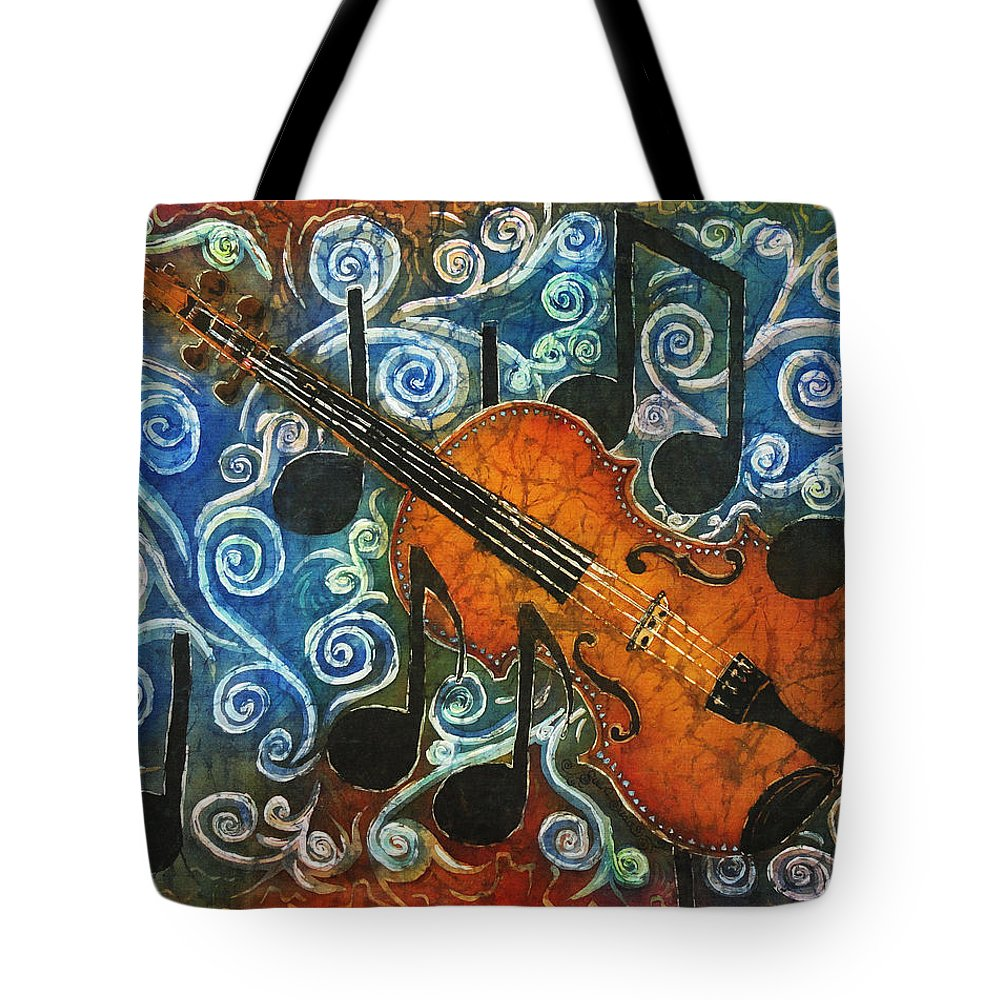 Fiddle Tote Bag featuring the painting Fiddle 1 by Sue Duda