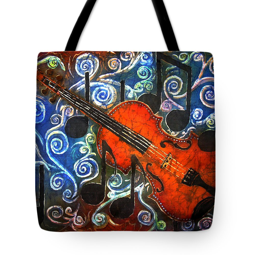 Fiddle Tote Bag featuring the painting Fiddle - Violin by Sue Duda