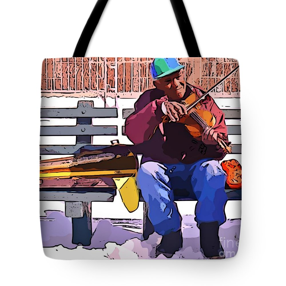 Fiddling Around In The Cold Tote Bag featuring the photograph Fiddling Around In The Cold by John Malone Halifax digital artist