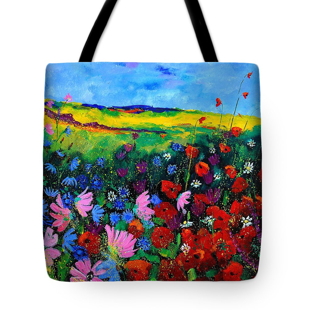 Poppies Tote Bag featuring the painting Field Flowers by Pol Ledent
