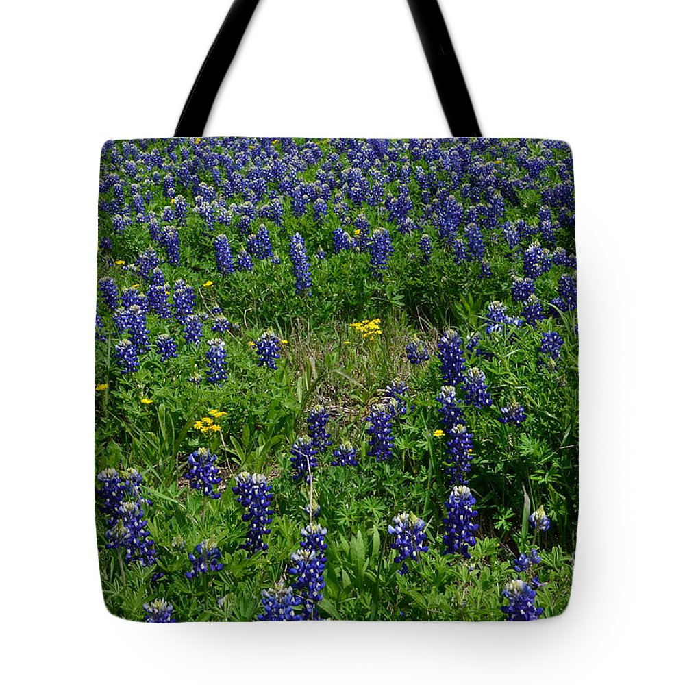 Bluebonnets Tote Bag featuring the photograph Field Of Bluebonnets by Hilton Barlow
