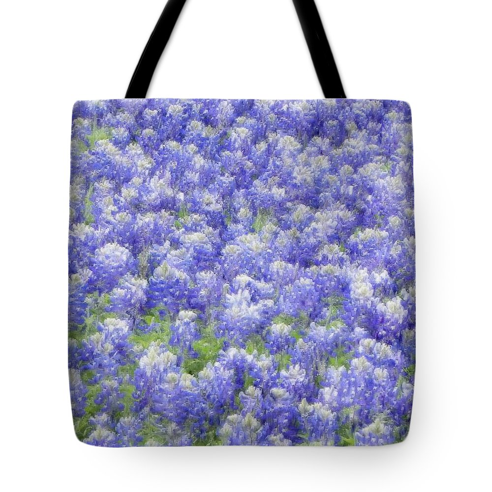 Bluebonnet Tote Bag featuring the photograph Field Of Bluebonnets by Kathy Churchman