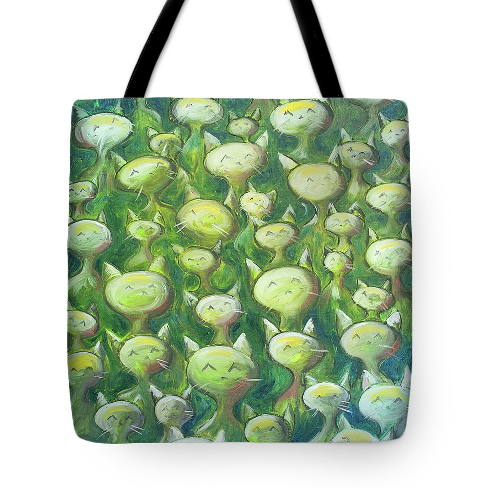 Cats Tote Bag featuring the painting Field Of Cats by Nik Helbig
