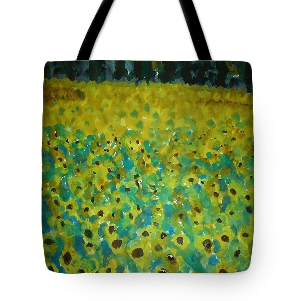 Landscape Tote Bag featuring the painting Field Of Daisy's by Judy Gerstner