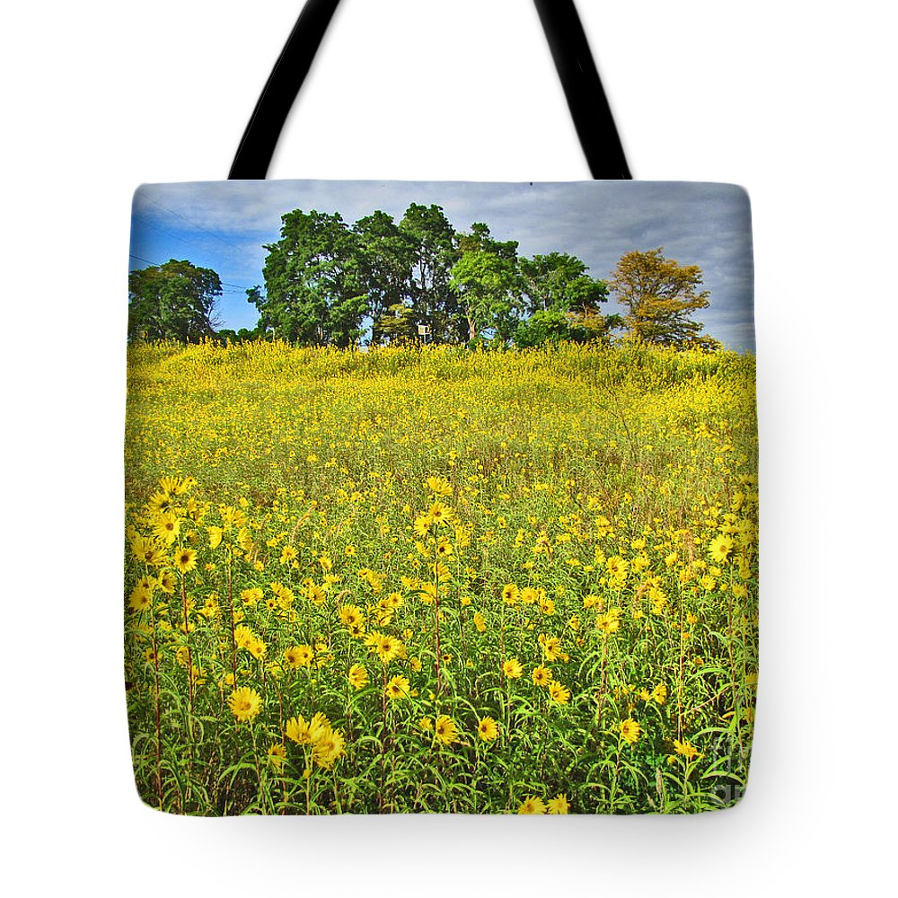 Flowers Tote Bag featuring the photograph Field Of Flowers by Minding My Visions by Adri and Ray