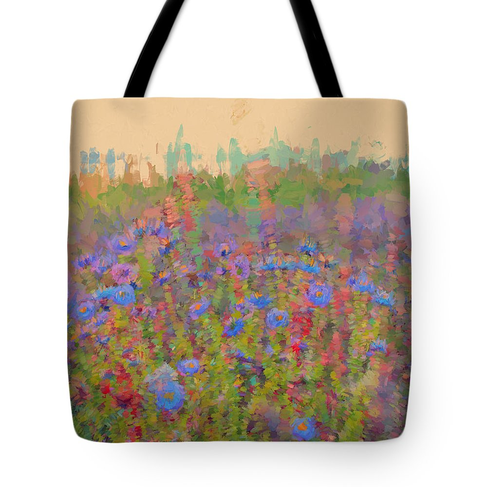 Flowers Tote Bag featuring the digital art Field Of Flowers by Cathy Anderson