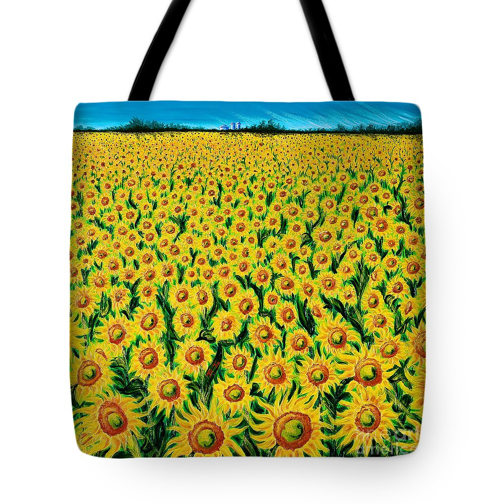 Acrylic Tote Bag featuring the painting Field Of Sunflowers by Jo-Anne Elniski