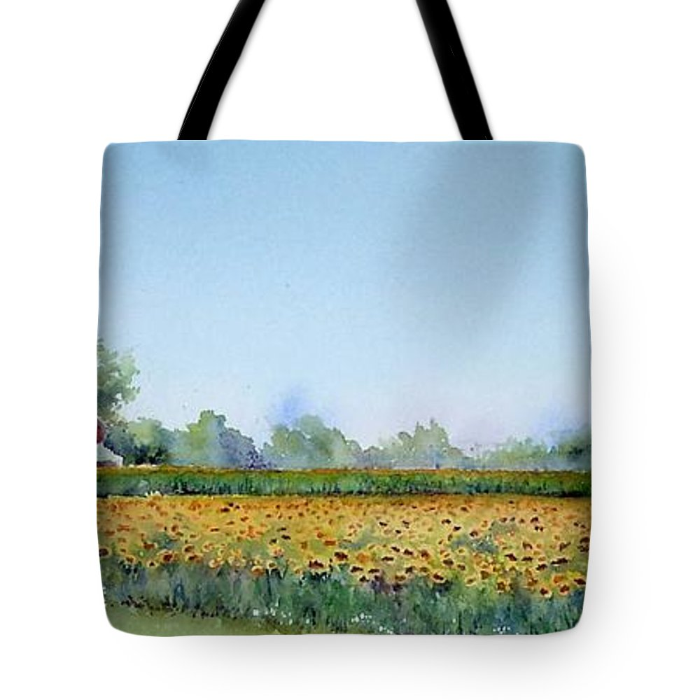 Landscape Tote Bag featuring the painting Field Of Sunshine by Patricia Henderson