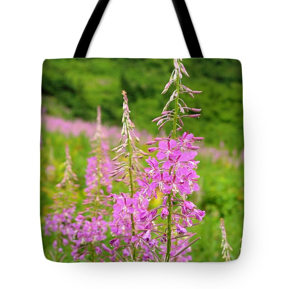 Flowers Tote Bag featuring the photograph Fields Of Fireweed by Deanna Cagle