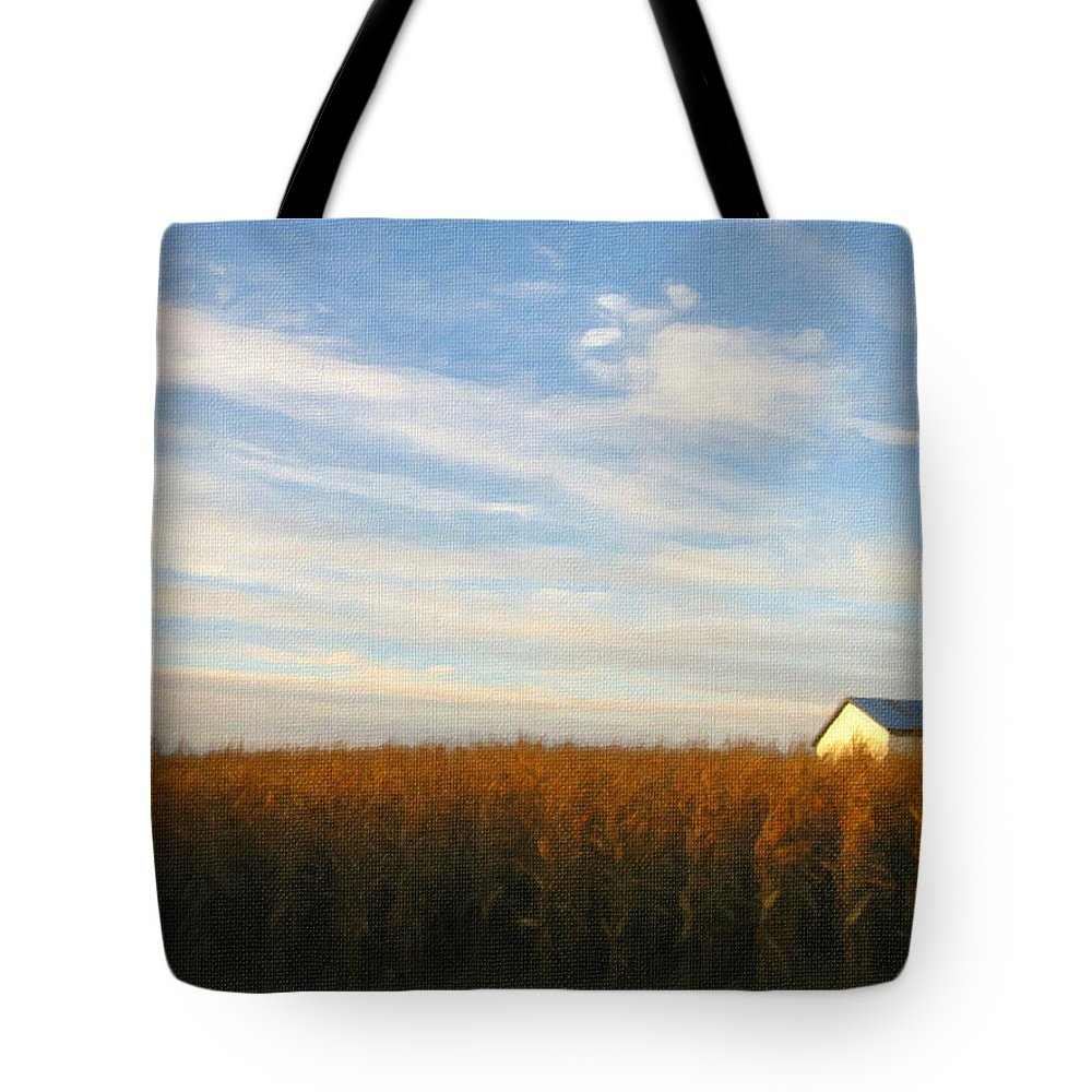 Farm Tote Bag featuring the photograph Fields Of Gold - Digital Painting Effect by Rhonda Barrett