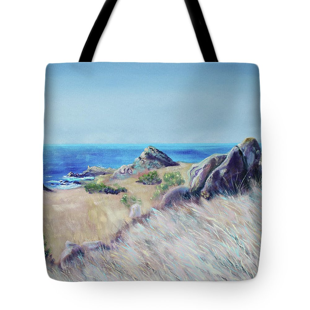 Seascape Painting Tote Bag featuring the painting Fields With Rocks And Sea by Asha Carolyn Young