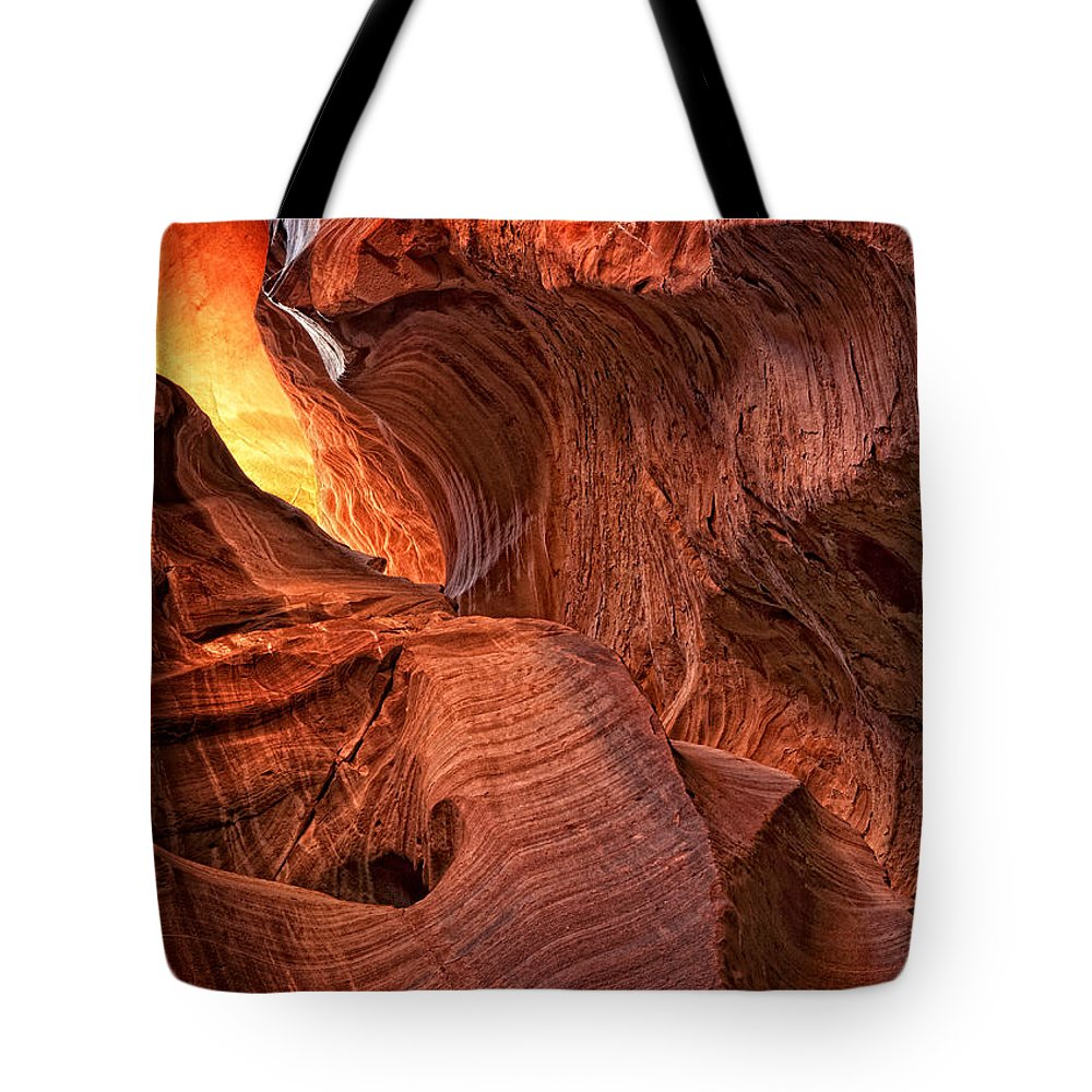 Slot Canyon Tote Bag featuring the photograph Fiery by Claudia Kuhn