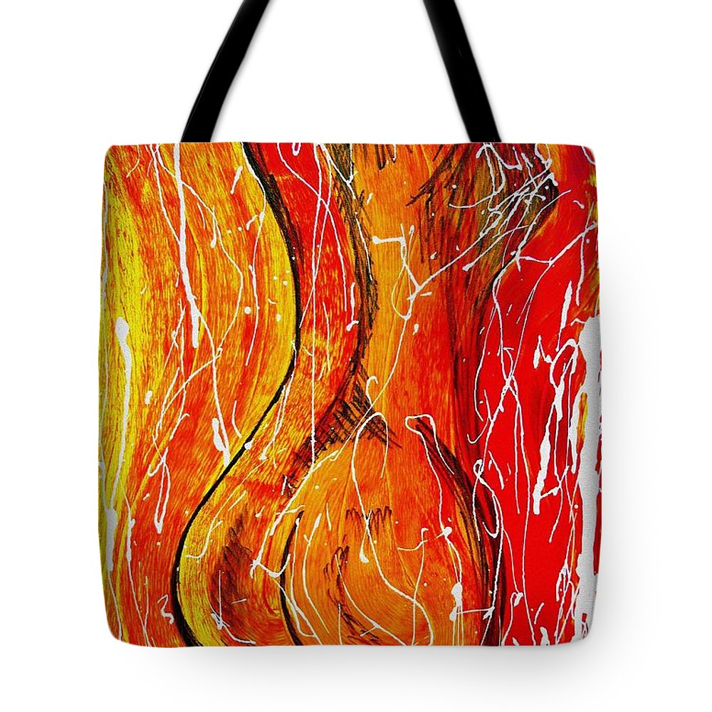 Pietyz Tote Bag featuring the painting Fiery Flames by Piety Dsilva