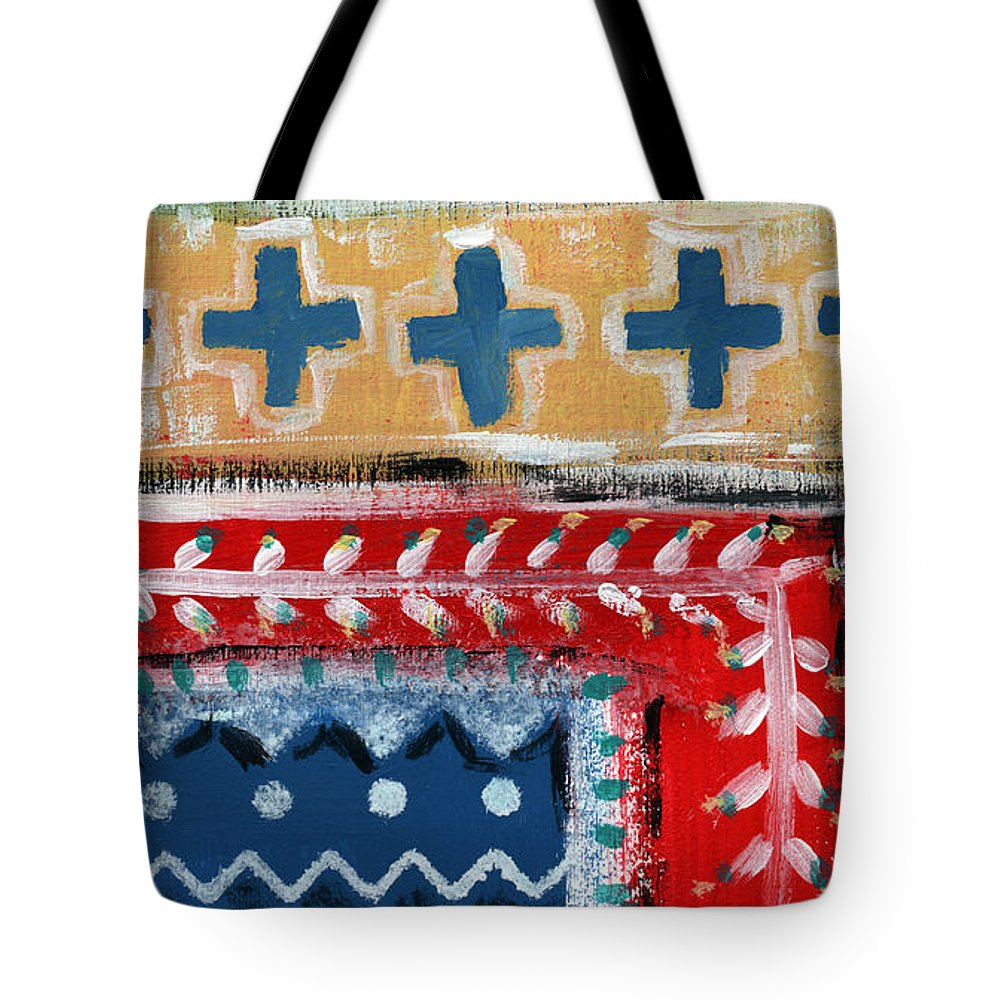 Fiesta Tote Bag featuring the mixed media Fiesta 3- Colorful Pattern Painting by Linda Woods