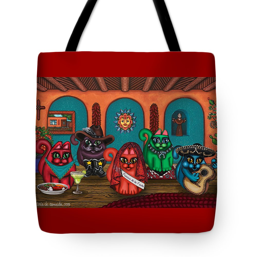 Folk Art Tote Bag featuring the painting Fiesta Cats II by Victoria De Almeida