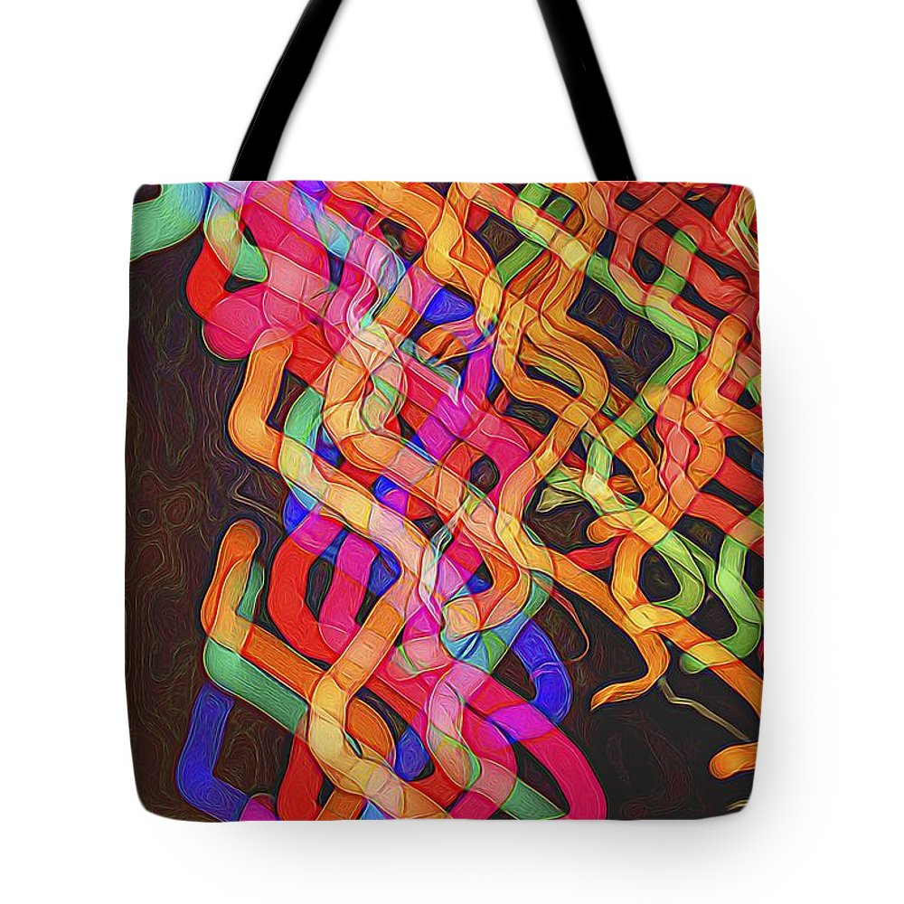 Abstract photography tote bag featuring the photograph fiesta streamers by norman gabitzsch