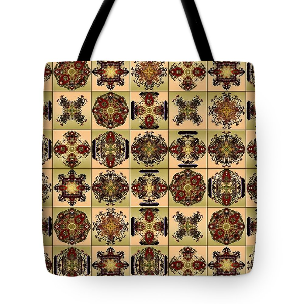 Flowers Tote Bag featuring the digital art Fifty Four Tiles by Paul Gentille