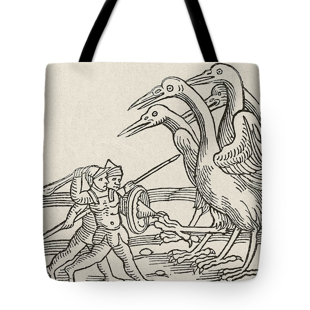 Tote bag drawing - Fight Tote Bag Featuring The Drawing Fight Between Pygmies And Cranes A Story From Greek