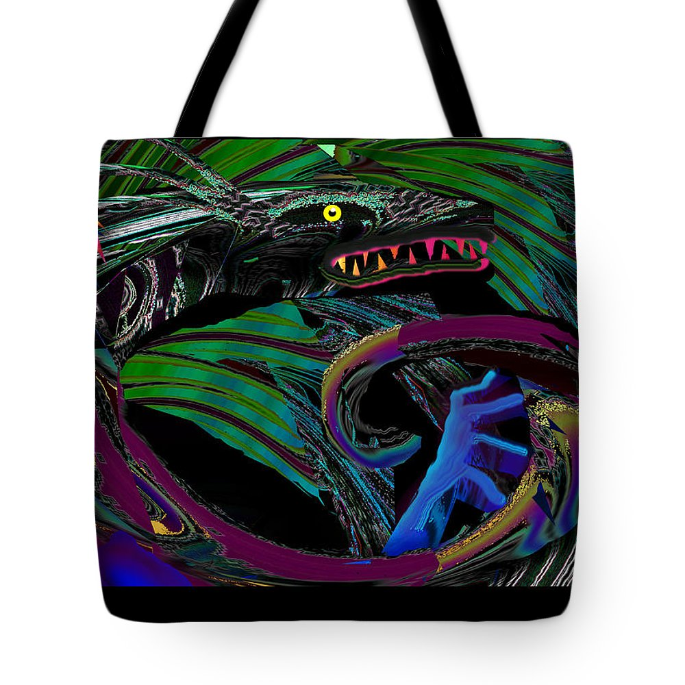 Dragon Tote Bag featuring the digital art Fight The Dragon by XERXEESE Color Schemes