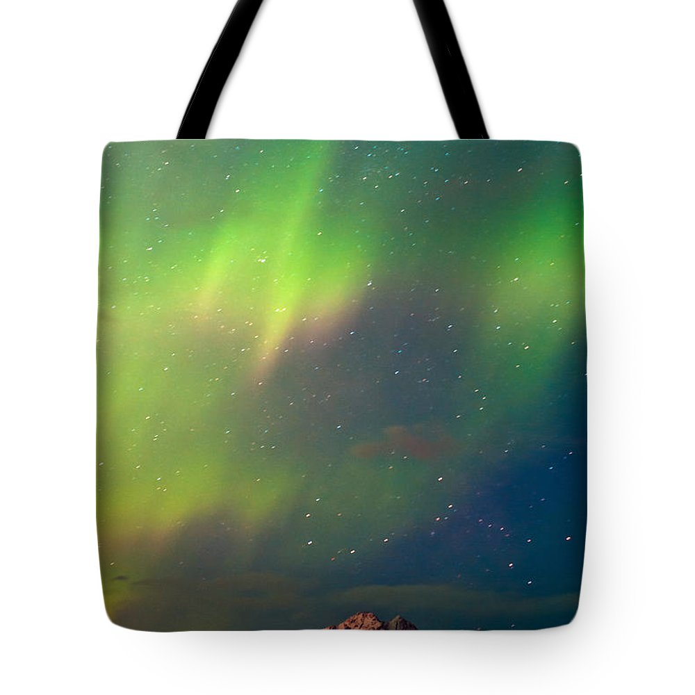 Aurora Tote Bag featuring the photograph Filled With Aurora by Ron Day