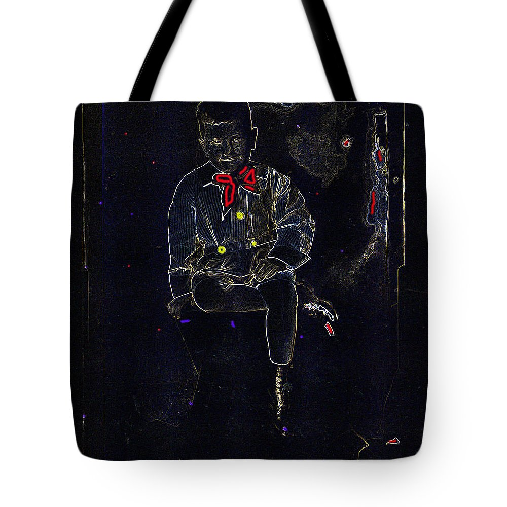 Film Homage Buster Brown Series Child In Brown Outfit Tucson Arizona Circa 1890 Toned Color Drawing Added Edwin S. Porter Thomas Alva Edison Tote Bag featuring the photograph Film Homage Buster Brown Series Child In Brown Outfit Tucson Arizona Circa 1890-2008 by David Lee Guss