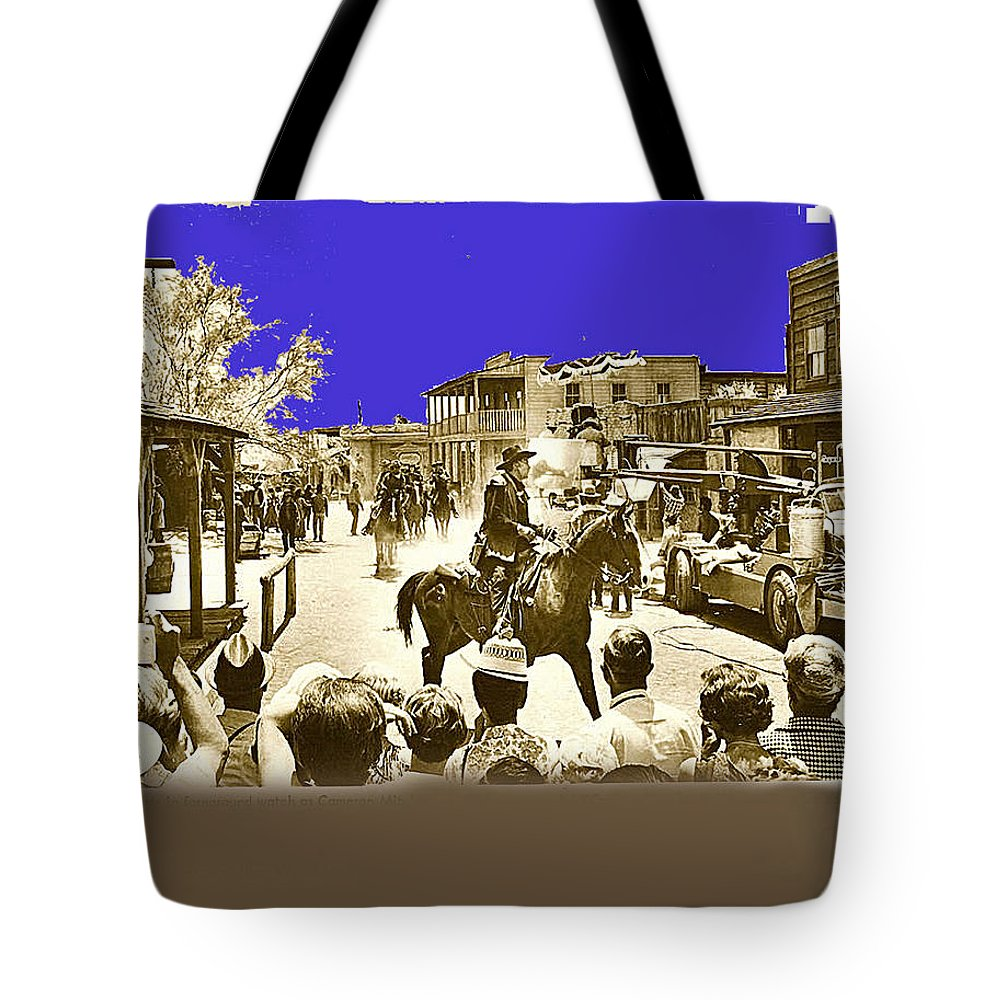 Film Homage Cameron Mitchell The High Chaparral Main Street Old Tucson Arizona Publicity Photo Spectators Color Added Camera Crane Truck Tote Bag featuring the photograph Film Homage Cameron Mitchell The High Chaparral Main Street Old Tucson Az Publicity Photo by David Lee Guss