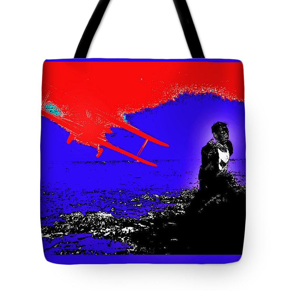 Film Homage Cary Grant Biplane Collage Publicity Photo North By Northwest 1959 Color Added Tote Bag featuring the photograph Film Homage Cary Grant Biplane Collage Publicity Photo North By Northwest 1959-2012 by David Lee Guss