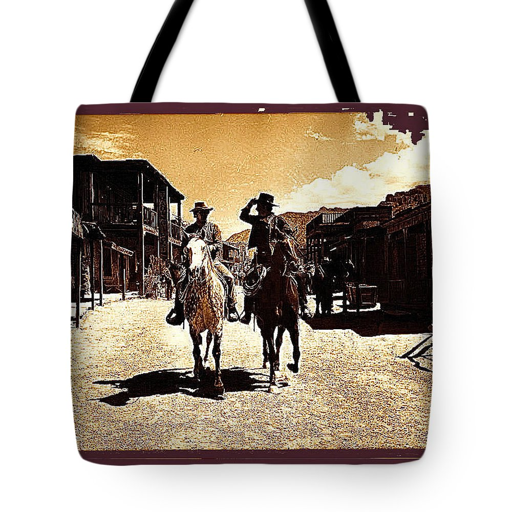 Film Homage Mark Slade Cameron Mitchell Riding Horses The High Chaparral Old Tucson Arizona Sepia Toned Color Added Tote Bag featuring the photograph Film Homage Mark Slade Cameron Mitchell Riding Horses The High Chaparral Old Tucson Arizona by David Lee Guss
