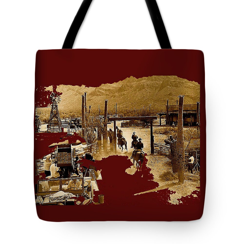 Film Homage The High Chaparral Set Collage Old Tucson Arizona Color Added Tote Bag featuring the photograph Film Homage The High Chaparral Set Collage Old Tucson Arizona C.1967-2013 by David Lee Guss