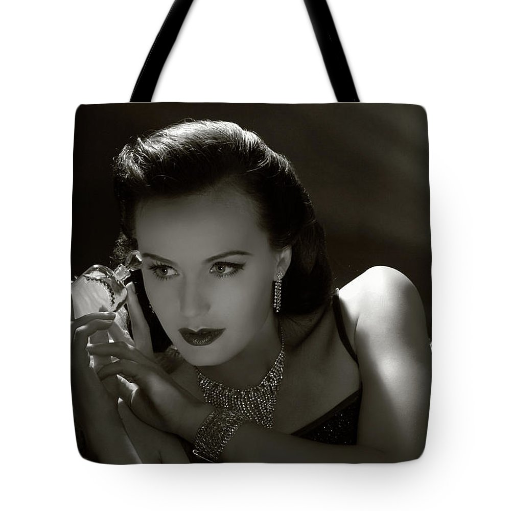 People Tote Bag featuring the photograph Film Noir Style.forbidden Fruit by Retroatelier
