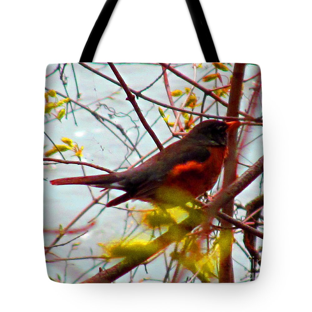 Bird Tote Bag featuring the photograph Finch In Springtime On A Very Windy Day by Tina M Wenger